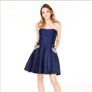 Blondie Nites Blue Strapless Homecoming Dress